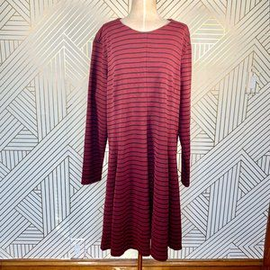 Anthro Hutch Blaine Knit Dress in Burgundy Stripe